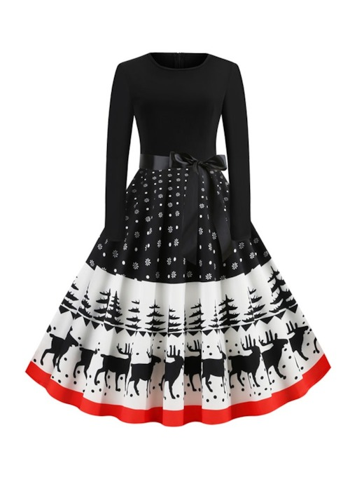 Christmas Round Neck Mid-Calf Long Sleeve Print Cartoon Women's Dress