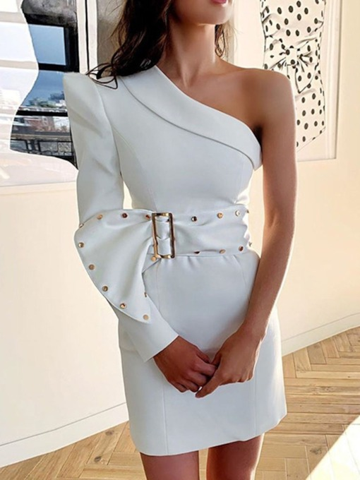 Long Sleeve Oblique Collar Belt Above Knee One-Shoulder Women's Dress