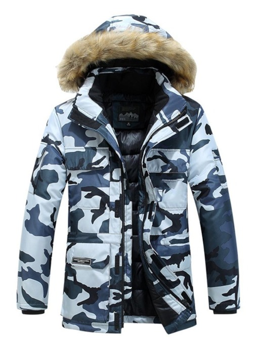 Hooded Mid-Length Print Camouflage Zipper Men's Down Jacket