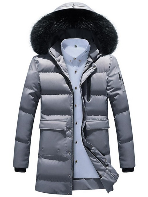 Mid-Length Hooded Pocket Men's Down Jacket