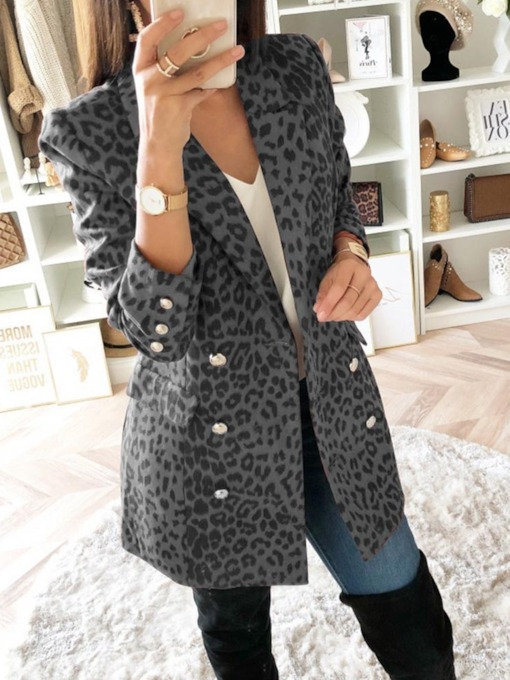 Long Sleeve Double-Breasted Color Block Mid-Length Women's Casual Blazer