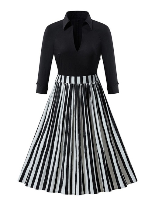Polo Neck Patchwork Mid-Calf Nine Points Sleeve Date Night/Going Out Women's Dress