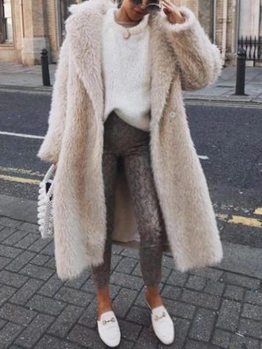 Long Plain Loose Women's Faux Fur Overcoat
