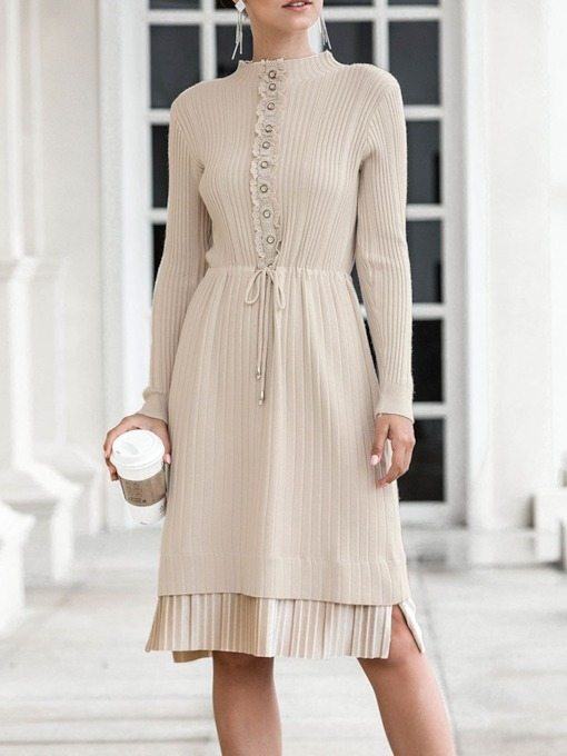Knee-Length Stand Collar Long Sleeve Pleated Casual Women's Dress