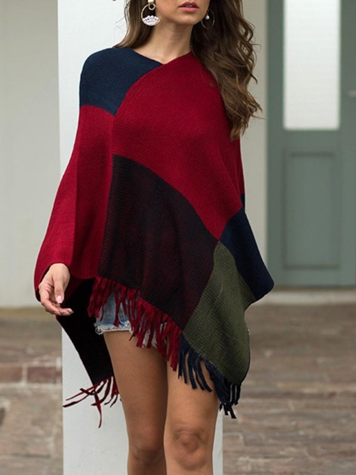 Casual Polyester Color Block Women's Cape
