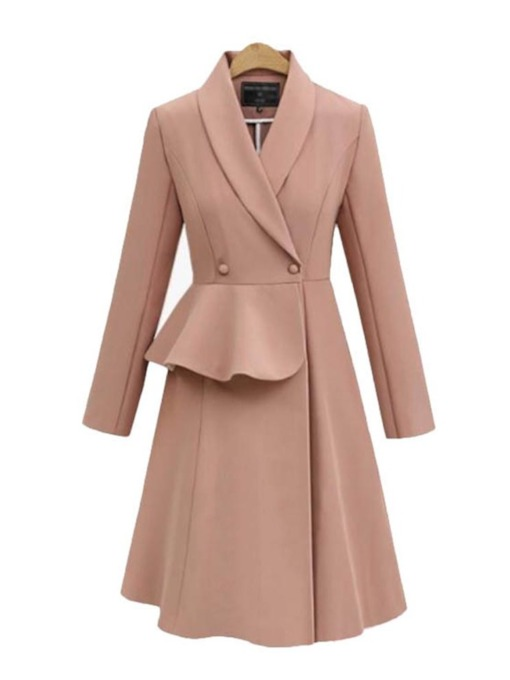 Double-Breasted Slim Long Women's Overcoat
