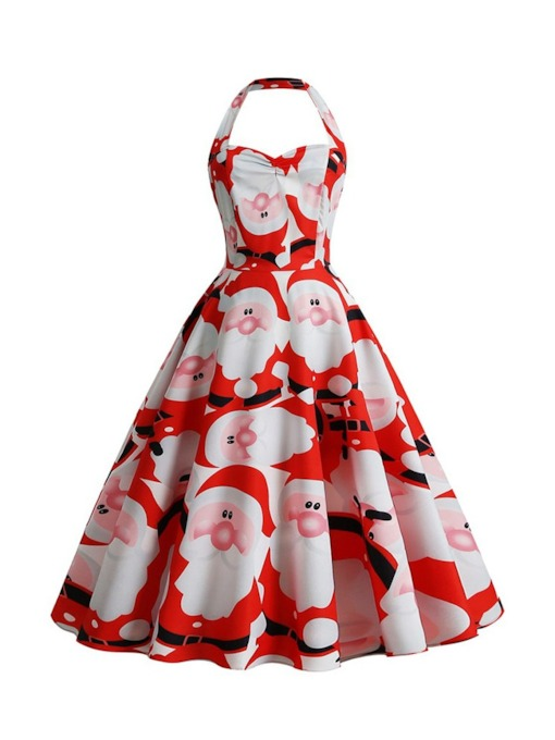 Christmas Mid-Calf Sleeveless Print A-Line Women's Dress