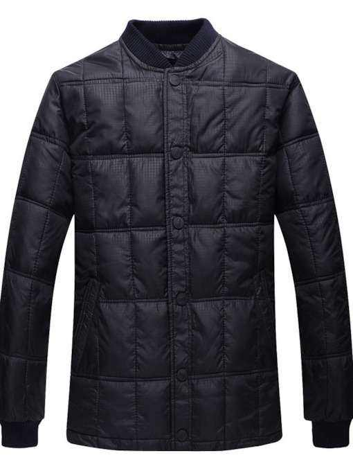 Button Standard Plain Stand Collar Single-Breasted Men's Down Jacket