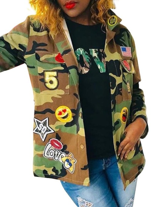Long Sleeve Single-Breasted Loose Regular Camouflage Women's Jacket