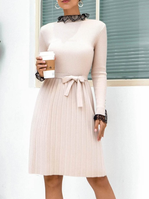 Long Sleeve Stand Collar Knee-Length Lace-Up Pullover Women's Dress