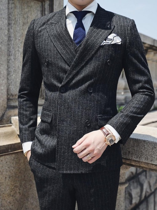 Korean Button Double-Breasted Blazer Men's Dress Suit