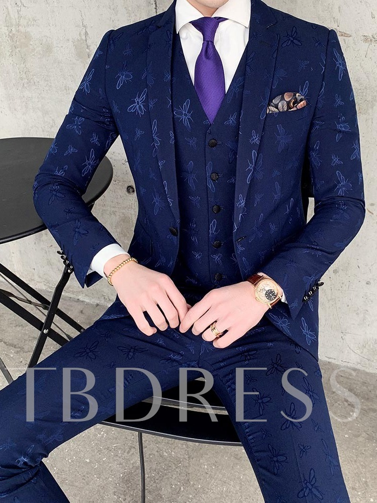 Vest One Button Pocket Korean Men's Dress Suit
