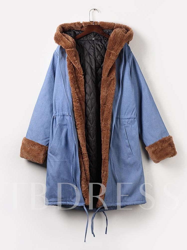 Patchwork Loose Thick Mid-Length Women's Cotton Padded Jacket