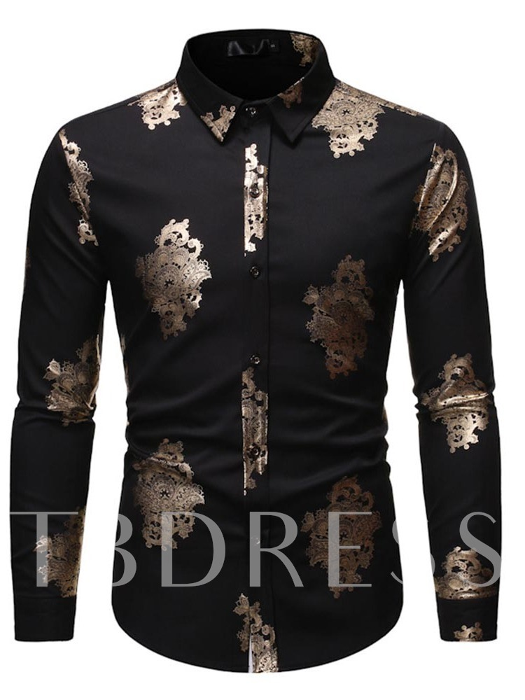 Color Block Lapel Casual Button Single-Breasted Men's Shirt
