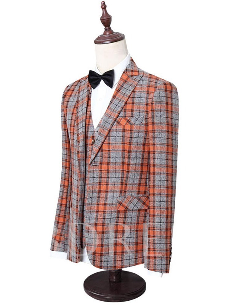 Button Blazer Plaid Single-Breasted Men's Dress Suit