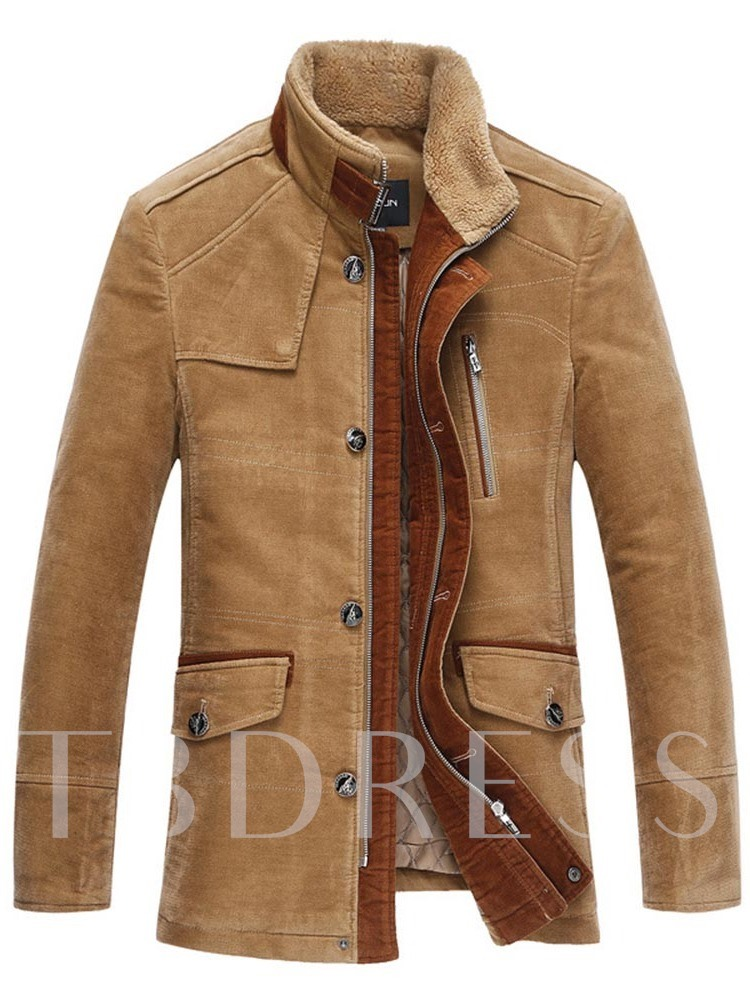 Color Block Thick Button Stand Collar Men's Jacket