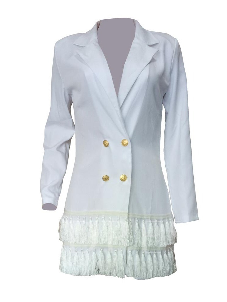 Notched Lapel Plain Long Sleeve Double-Breasted Mid-Length Women's Casual Blazer