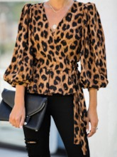 Lace-Up Regular V-Neck Leopard Standard Women's Blouse