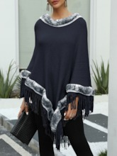 Color Block Ethnic Polyester Women's Cape