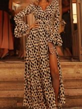 Long Sleeve V-Neck Ankle-Length Print Fashion Women's Maxi Dress