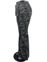 Camouflage Slim Bellbottoms Women's Casual Pants