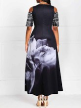 Hollow Round Neck Short Sleeve Cold Shoulder Women's Maxi Dress