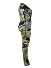 Plus Size Casual Color Block Full Length Print High Waist Women's Jumpsuit