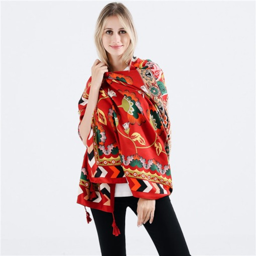 Vintage Cotton Floral Prints Women's Shawl Scarves