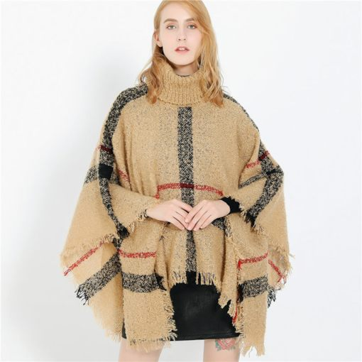 Tassel Acrylic Plaid Shawl Scarves for Women