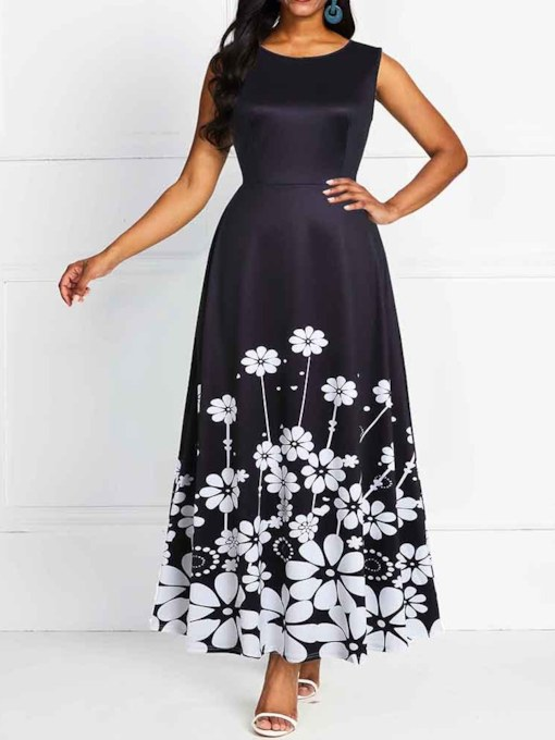 Print Sleeveless Round Neck Floral A-Line Women's Maxi Dress