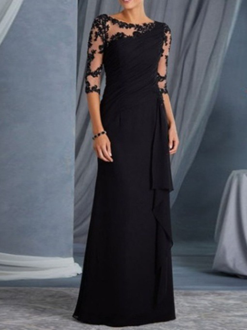 Floor-Length Patchwork Round Neck Three-Quarter Sleeve Summer Women's Dress