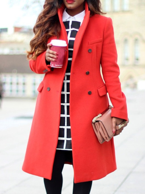 Plus Size A Line Double-Breasted Regular Notched Lapel Women's Overcoat