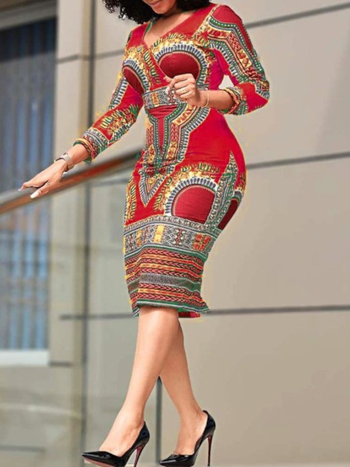 Three-Quarter Sleeve V-Neck Mid-Calf Print High Waist Women's Dress