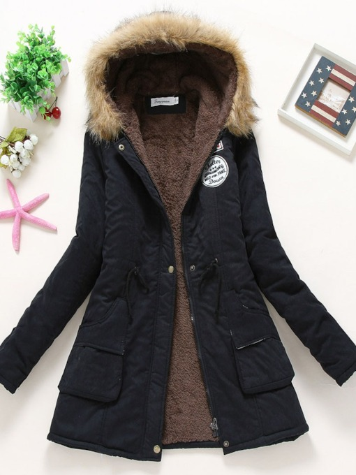 Patchwork Mid-Length Women's Cotton Padded Jacket