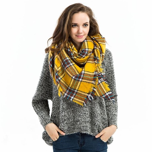 Tassel Square Plaid Women's Scarves
