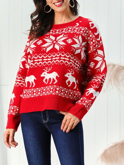 Regular Regular Long Sleeve Christmas Women's Sweater