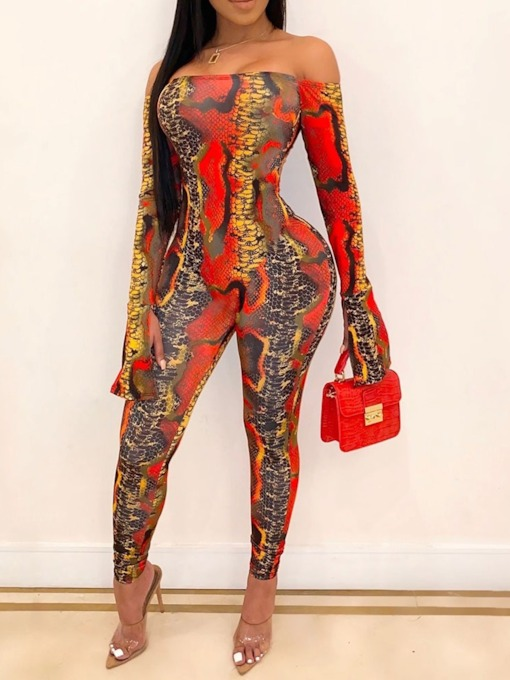 Off Shoulder Sexy Full Length Skinny Women's Jumpsuit