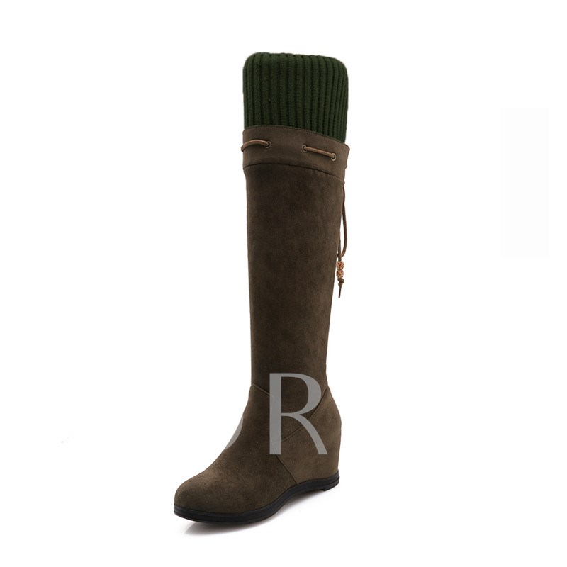 Round Toe Suede Lace-Up Back Elevated Women's Knee High Boots