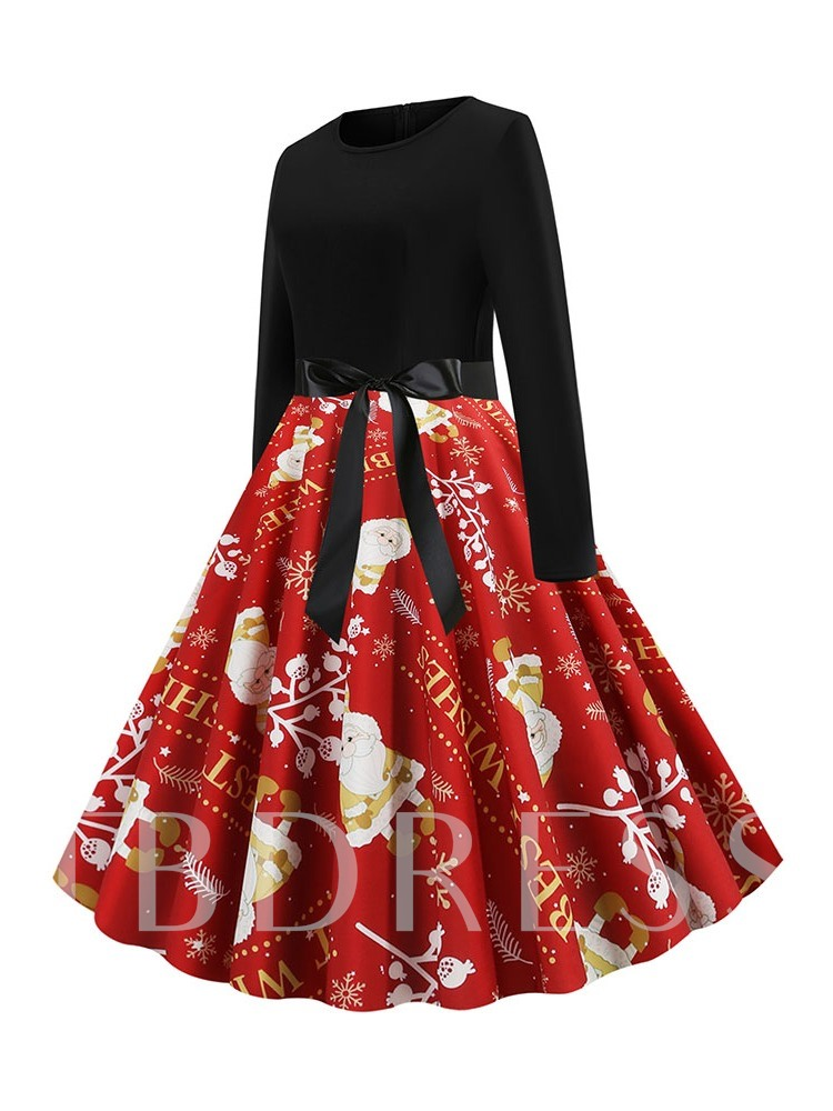 Mid-Calf Patchwork Long Sleeve Round Neck Winter Women's Dress