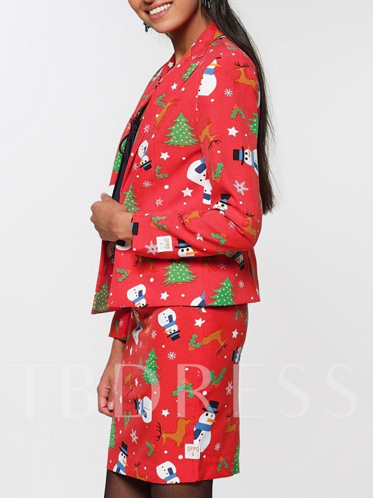 Christmas Floral Print Notched Lapel Happy Holidays Women's Two Piece Sets