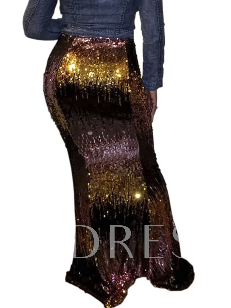 Sequins Color Block Bodycon Floor-Length Sexy Women's Skirt