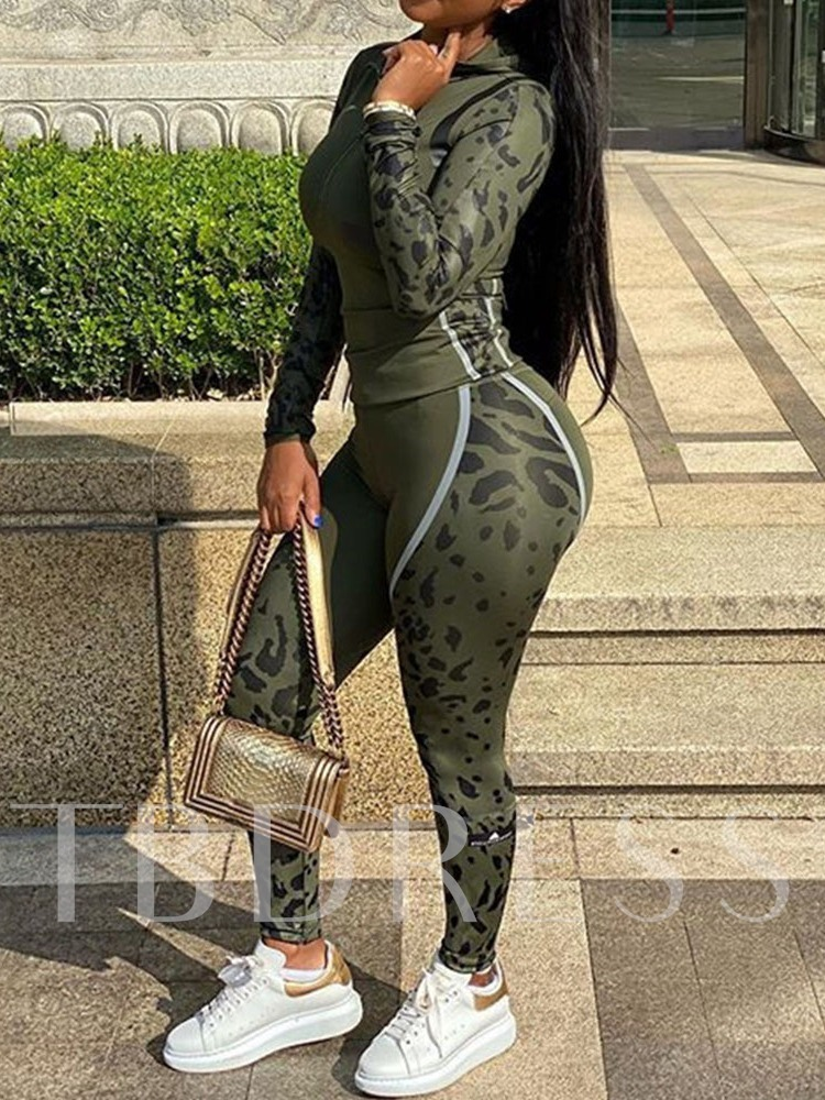 Casual Color Block Print Hooded Women's Two Piece Sets