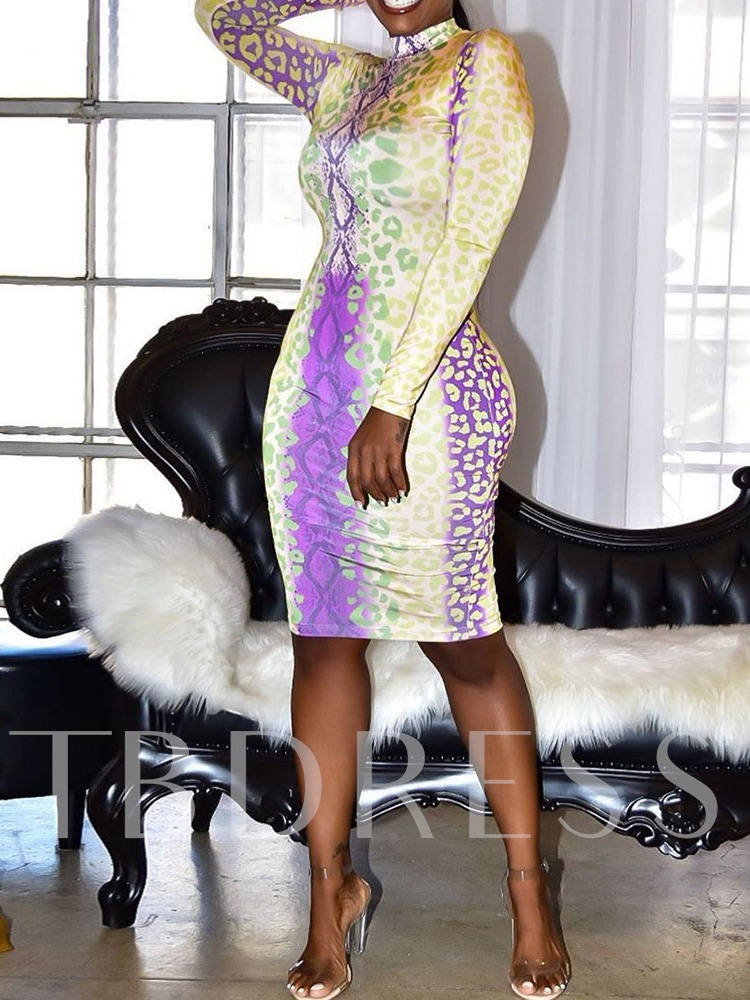 Long Sleeve Knee-Length Stand Collar Print Party/Cocktail Women's Dress