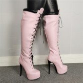 Round Toe Lace-Up Front Platform Customized Thigh High Boots