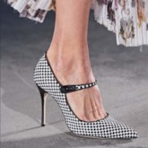 Buckle Pointed Toe Stiletto Heel Plaid Customized Pumps