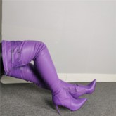 Side Zipper Pointed Toe PurpleThigh High Boots