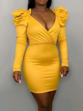V-Neck Pleated Above Knee Long Sleeve Party/Cocktail Women's Dress
