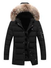 Color Block Mid-Length Hooded Zipper Casual Men's Down Jacket