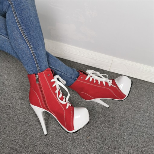Side Zipper Round Toe Platform Vintage Customized Booties