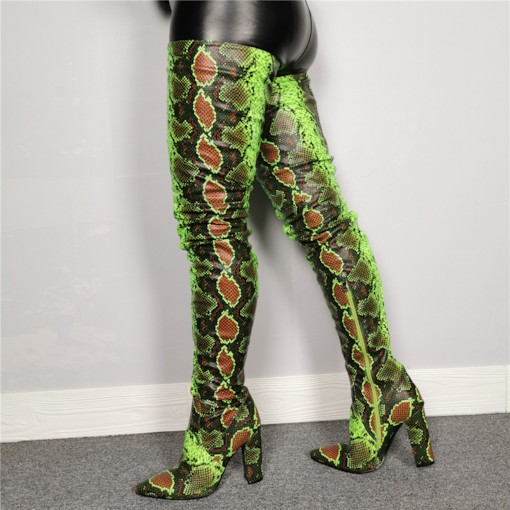 Side Zipper Animal Print Pointed Toe Thigh High Boots